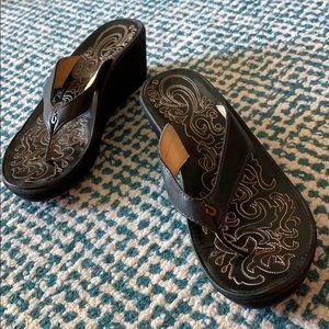 Olakai Black Wedge Sandals Size 7 EUR 37